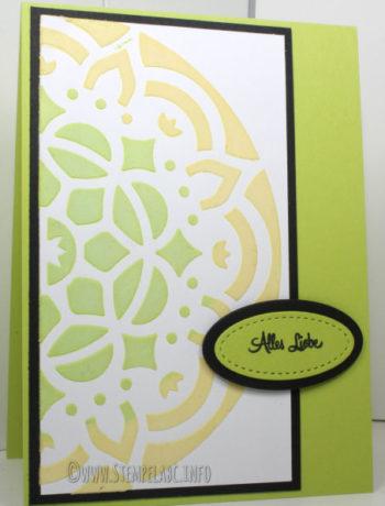 Eingefärbte Struktur-Paste auf Geburtstagskarte