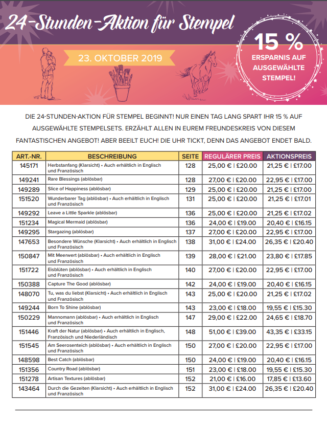 24-Stunden-Aktion für Stempel Sammelbestellung am 23.10.2019